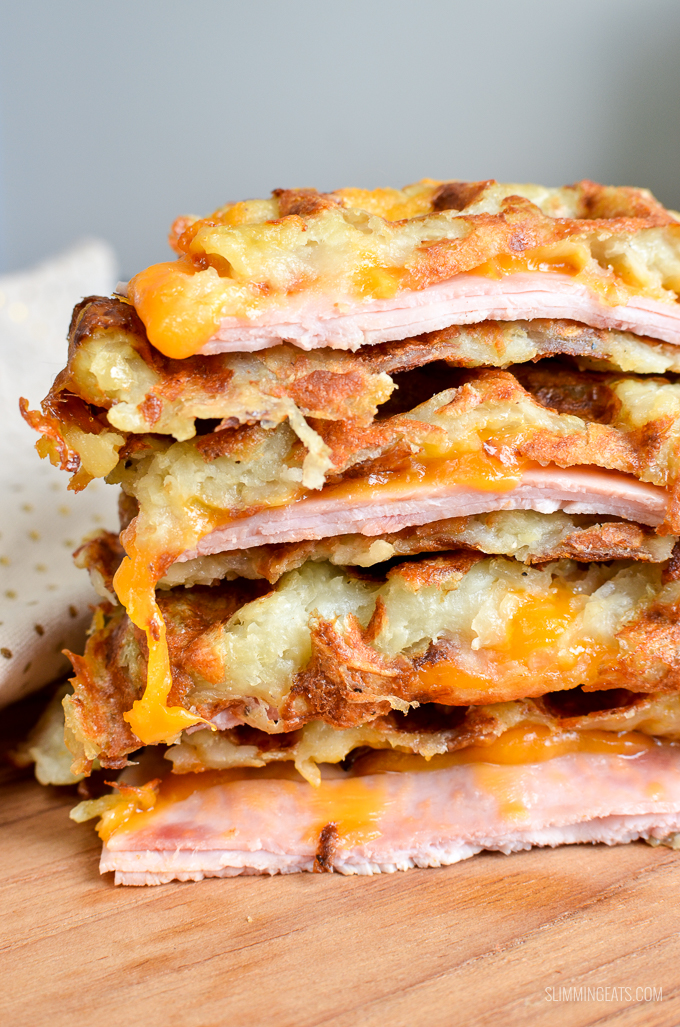 Syn Free Ham and Cheese Stuffed Hash Brown Waffle - gluten free, Slimming World and Weight Watchers friendly