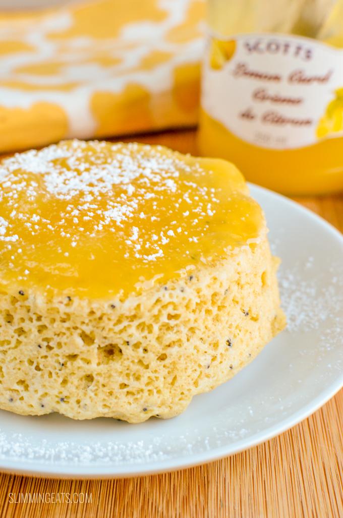 Slimming Eats Low Syn 2 Minute Lemon Poppy Seed Mug Cake - gluten free, vegetarian, Slimming World and Weight Watchers friendly