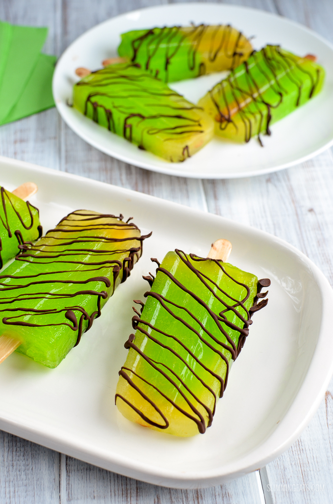 Slimming Eats Lime Chocolate Drizzle Popsicles - gluten free, Slimming World and Weight Watchers friendly