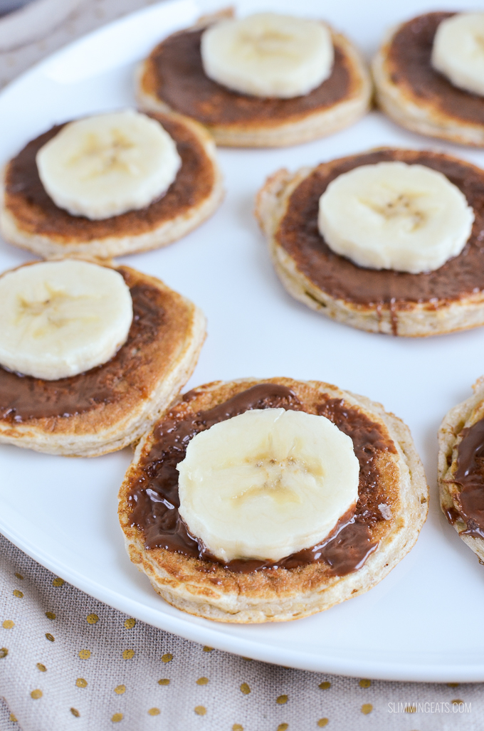 Slimming Eats Mini Chocolate Banana Pancakes - gluten free, vegetarian, Slimming World and Weight Watchers friendly