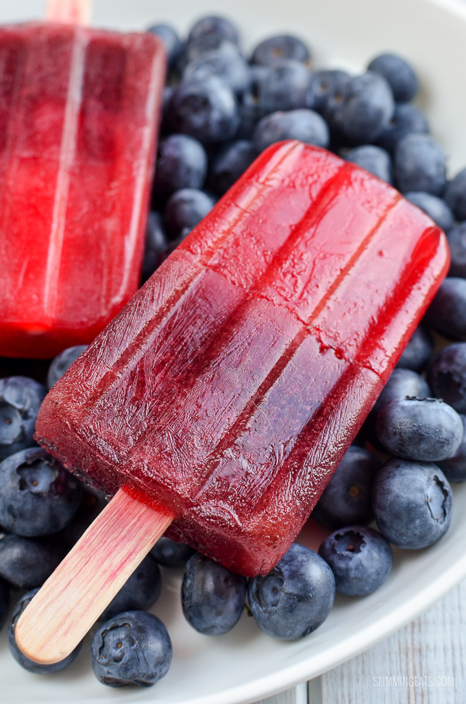 Low Syn Raspberry Jelly and Blueberry Popsicles - gluten free, dairy free, Slimming World and Weight Watchers friendly