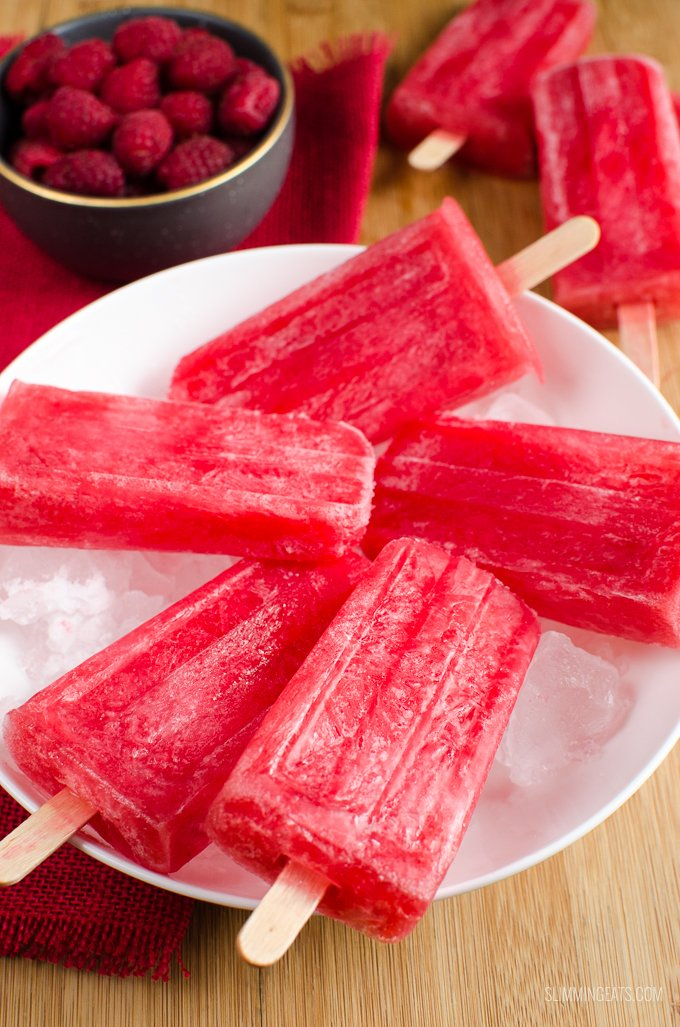 Slimming Eats Raspberry Lemonade Popsicles - gluten free, dairy free, vegetarian, Slimming World and Weight Watchers friendly