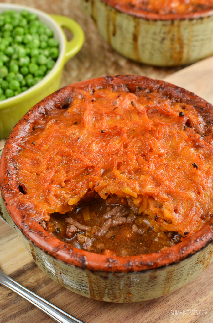 Slimming Eats  Spiralized Butternut Squash Topped Meat Pie - gluten free, Slimming World and Weight Watchers friendly