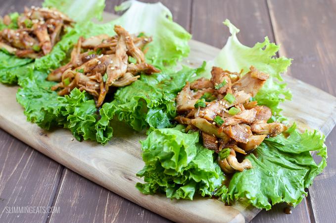 Slimming Eats Honey Garlic Chicken Lettuce Wraps - gluten free, dairy free, paleo, Slimming World and Weight Watchers friendly