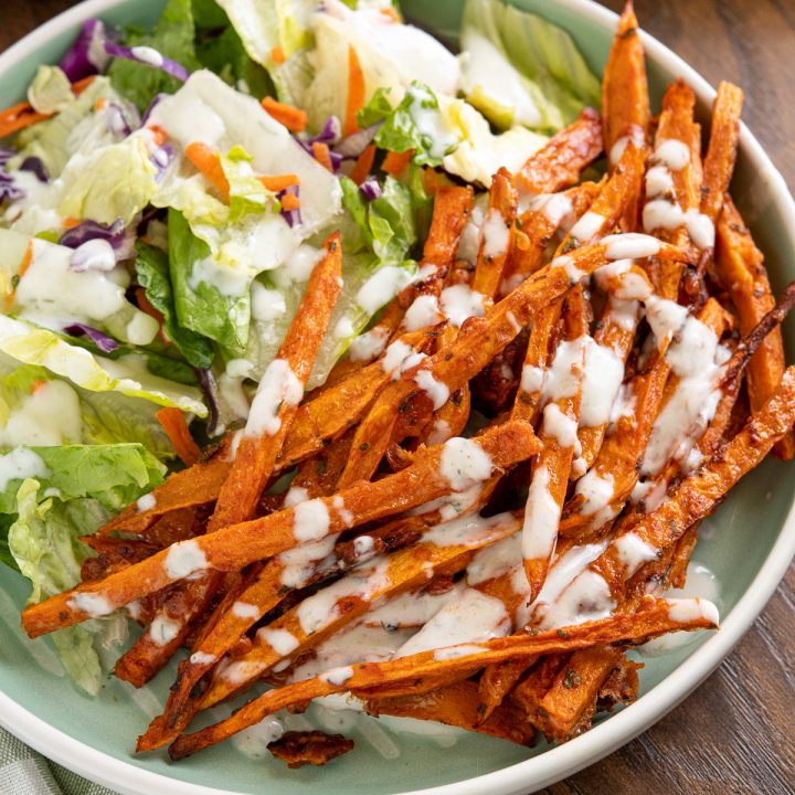 Parmesan Sweet Potato Fries with Ranch Dressing
