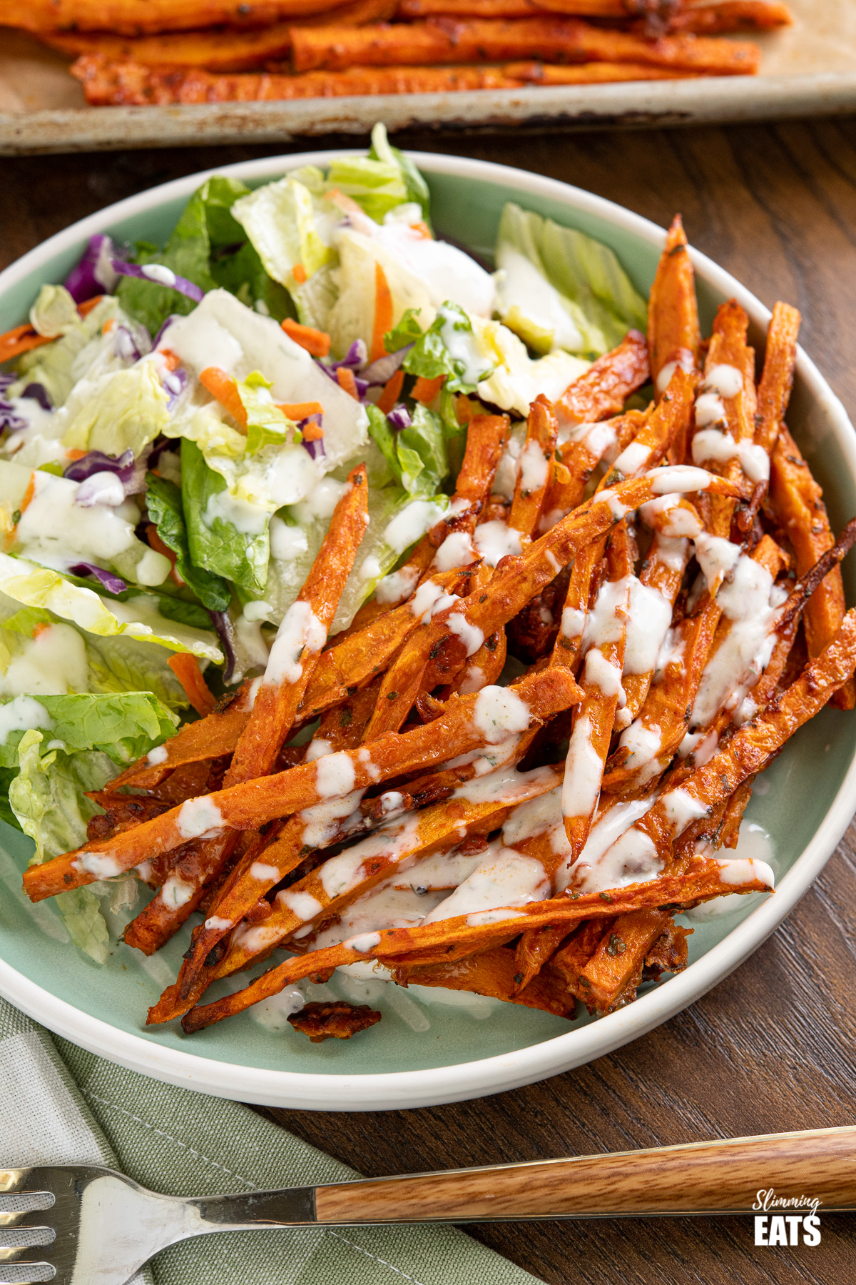 close up of Parmesan Sweet Potato Fries on light teal plate with salad.