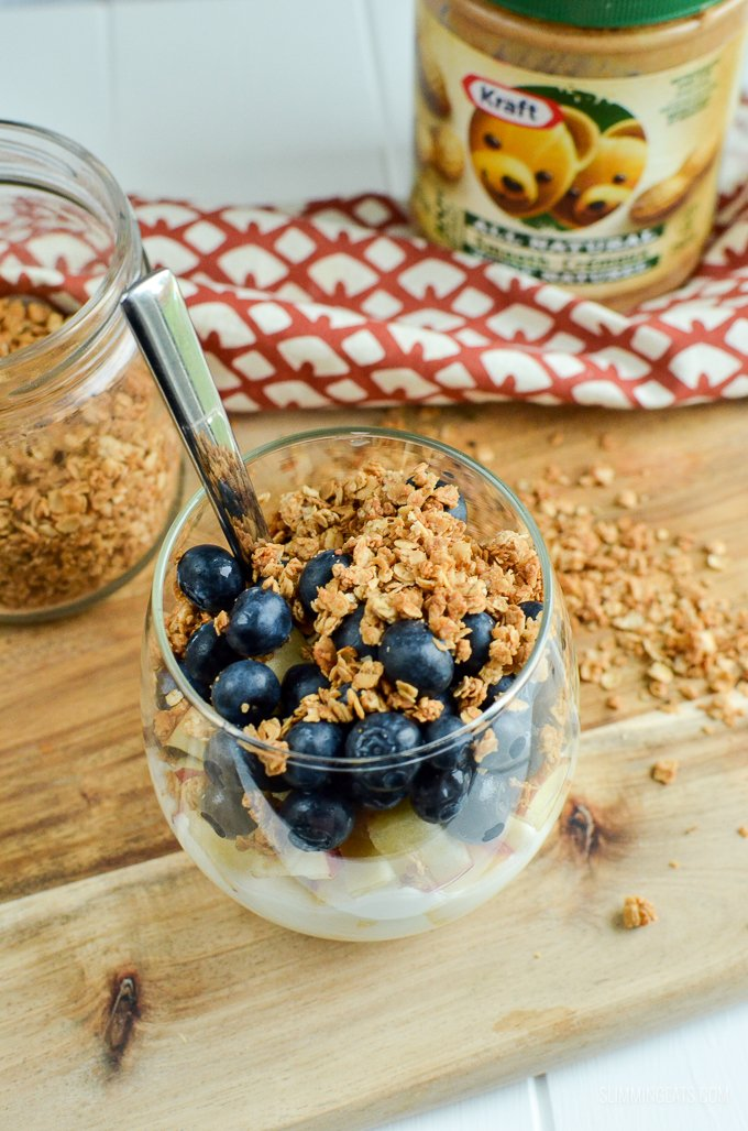 Slimming Eats 3 Ingredient Peanut Butter Granola - gluten free, dairy free, vegetarian, Slimming World and Weight Watchers friendly