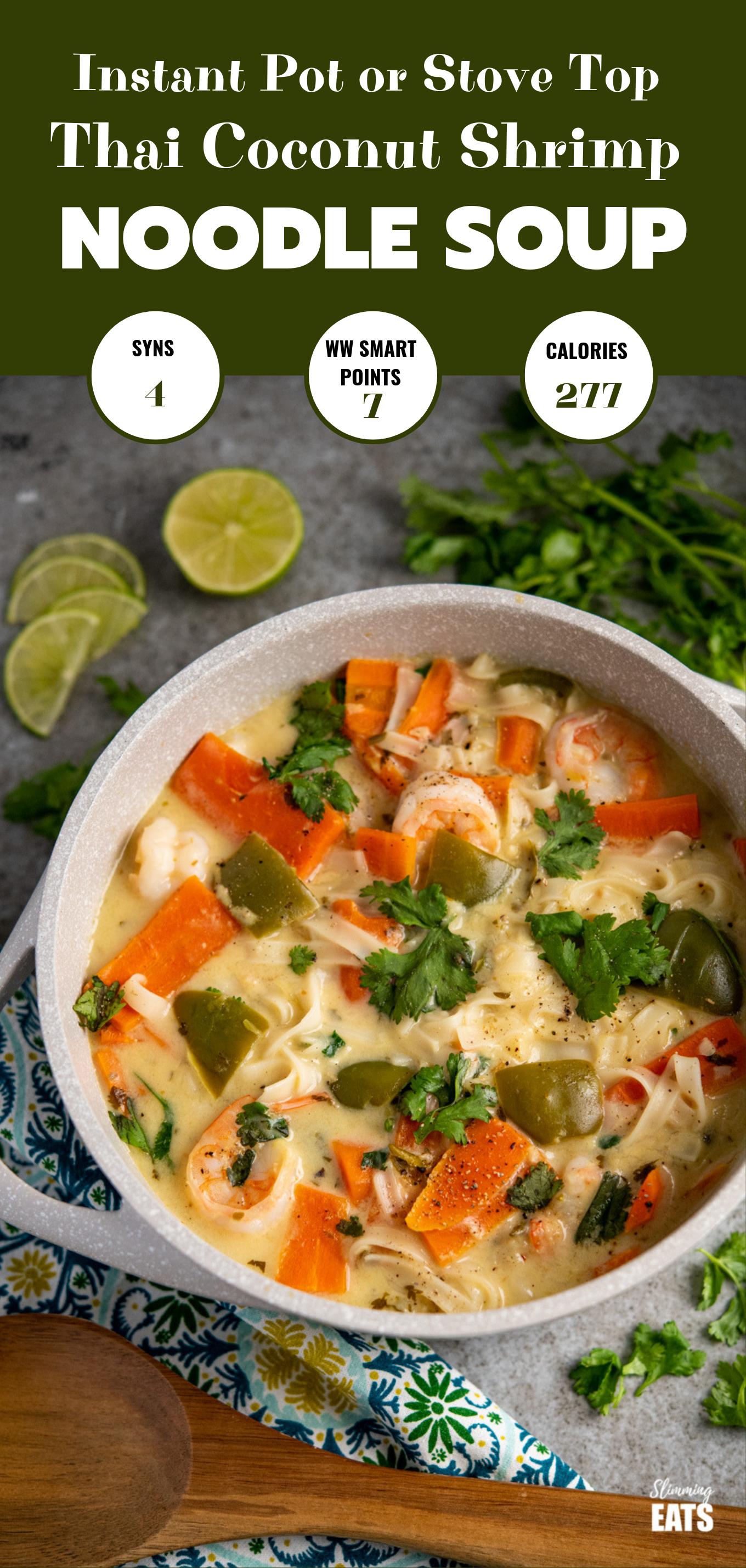 Thai Coconut Shrimp Noodle Soup feature pin image