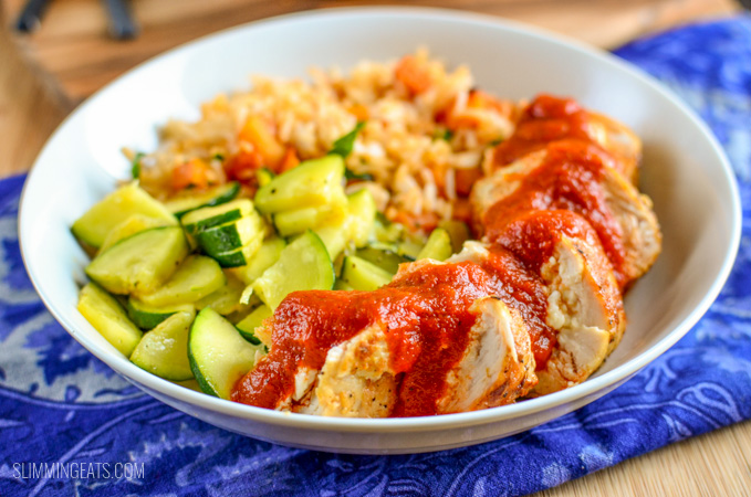 Slimming Eats Feta Stuffed Chicken with Roasted Red Pepper Sauce - gluten free, Slimming World and Weight Watchers friendly