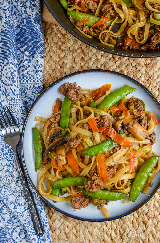 Slimming Eats Quick Hoisin Beef Noodle Stir Fry - gluten free, dairy free, Slimming World and Weight Watchers friendly
