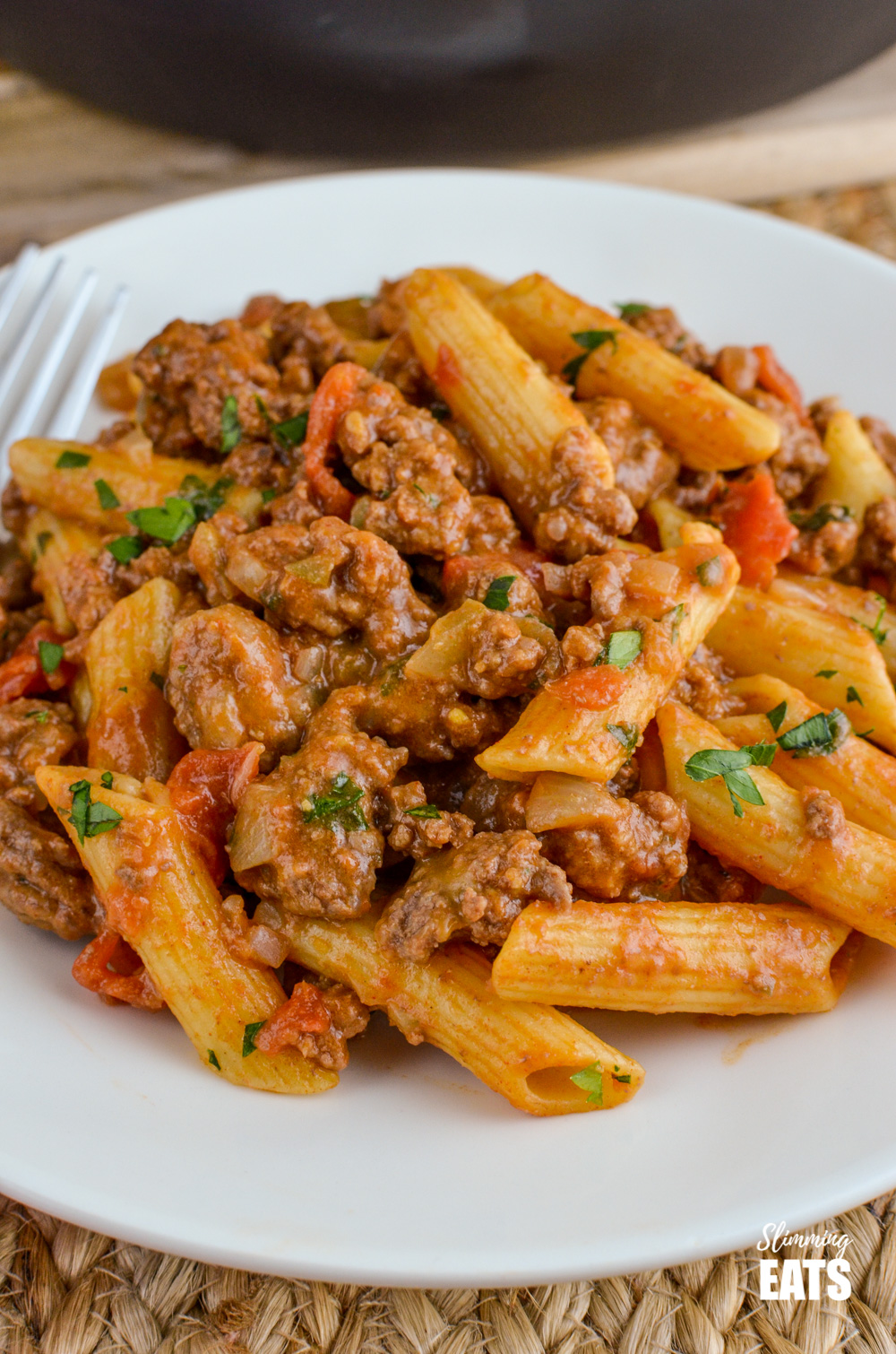 Close up of Syn Free One Pot Cheeseburger Pasta on white plate