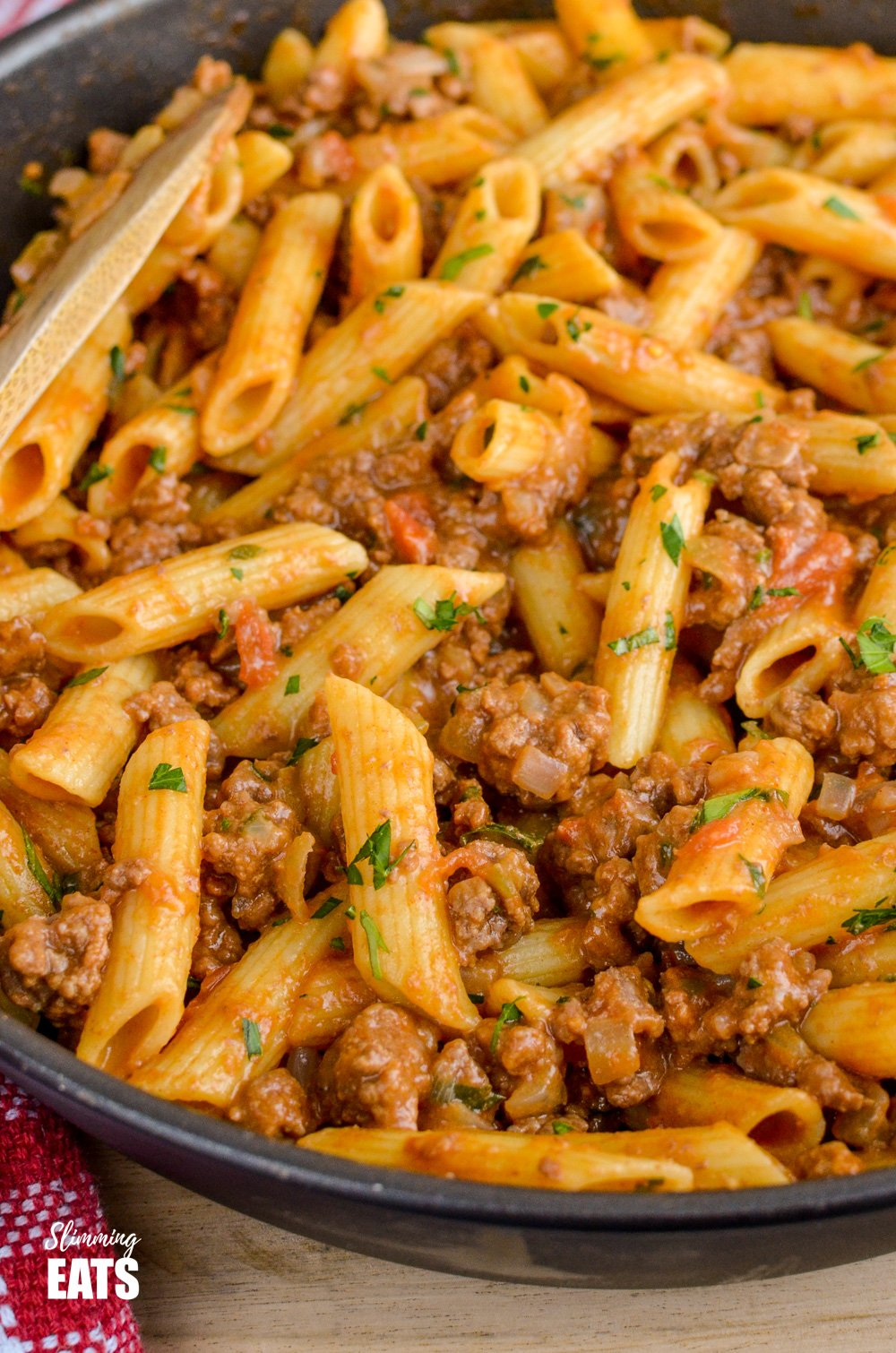 one pot cheeseburger pasta in a black frying pan