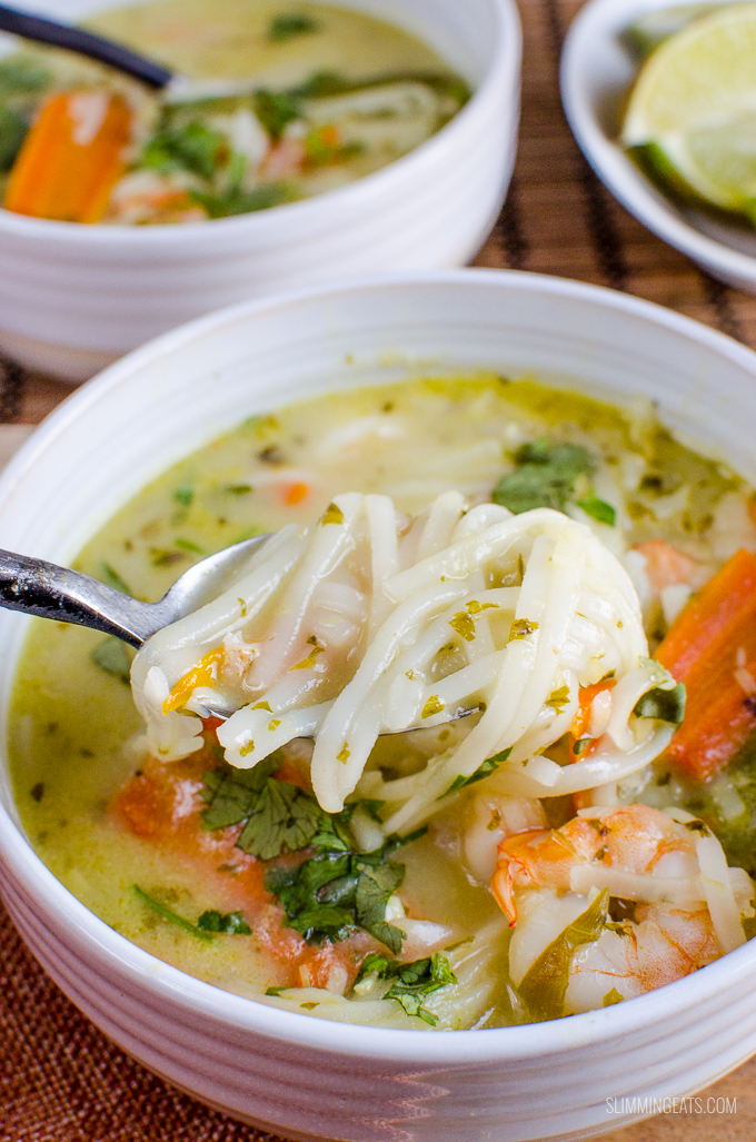 Slimming Eats Thai Coconut Shrimp Noodle Soup - gluten free, dairy free, Slimming World and Weight Watchers friendly