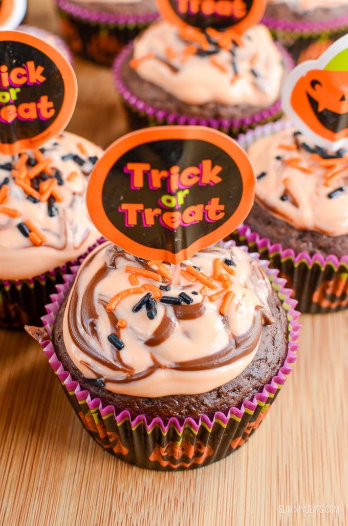 Slimming Eats Orange and Chocolate Halloween Cupcakes - vegetarian, Slimming World and Weight Watchers friendly
