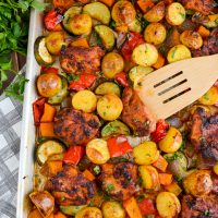 Chicken, Potato, Vegetable Tray Bake