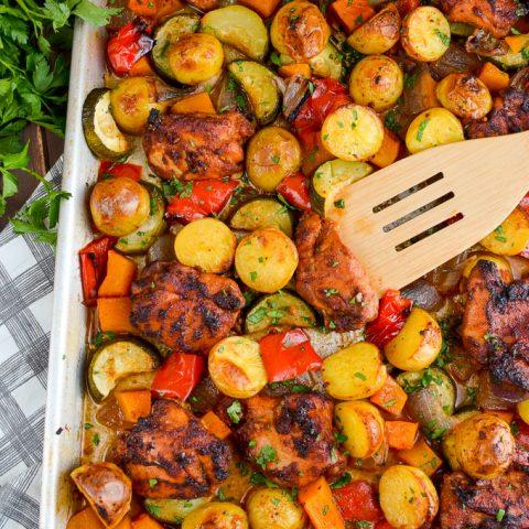 Chicken, Potato, Vegetable Tray Bake