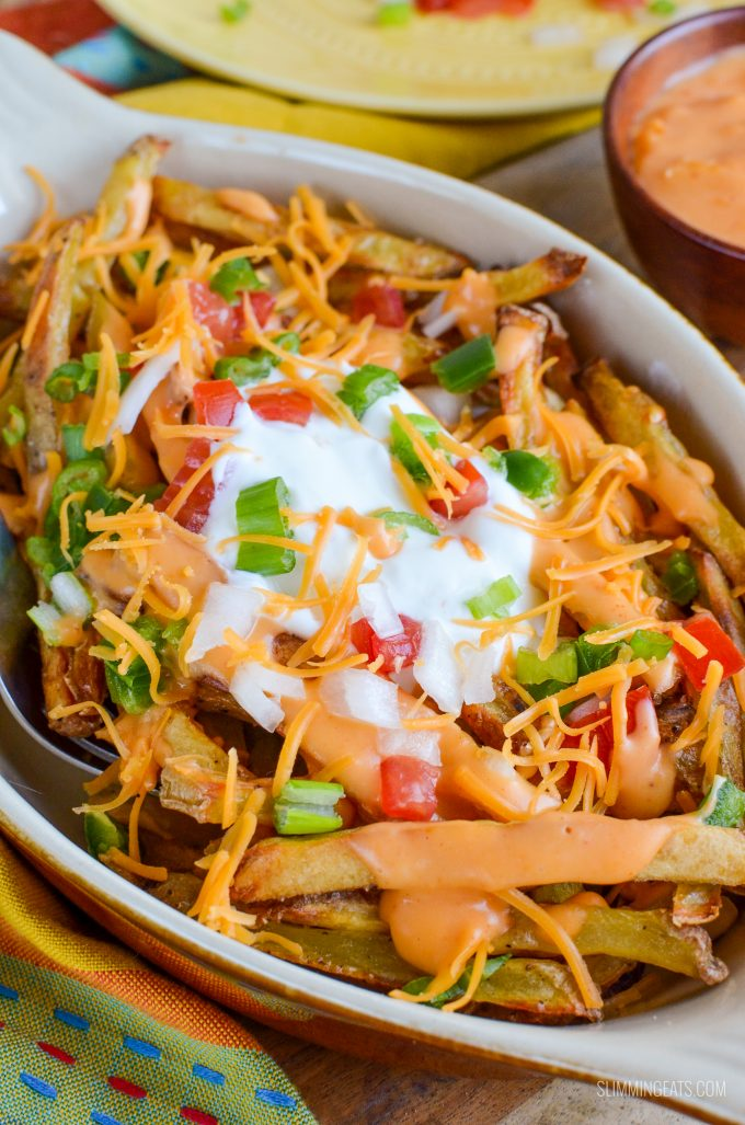 Slimming Eats Low Syn Loaded Nacho Fries - gluten free, vegetarian, Slimming World and Weight Watchers friendly