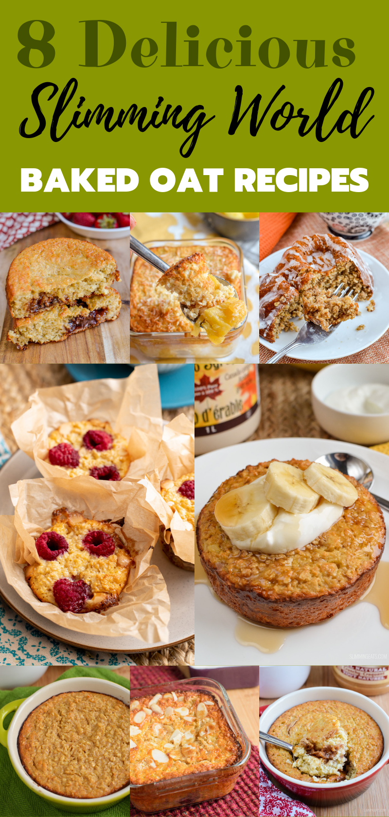 8 baked oat recipes pin image