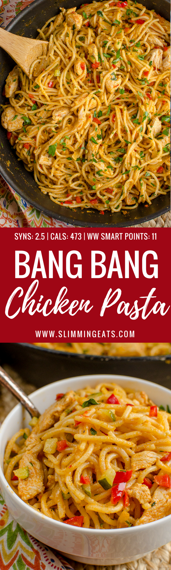 Dig into a bowl of this Delicious Bang Bang Chicken Pasta - a perfect family meal with a spicy kick - Slimming World and Weight Watchers friendly | www.SlimmingEats.com