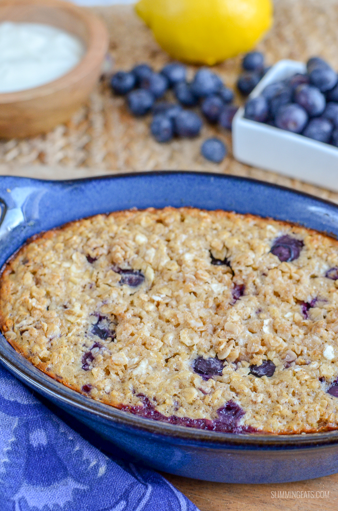 Slimming Eats Blueberry and Lemon Baked Oats - gluten free, vegetarian, Slimming World and Weight Watchers friendly