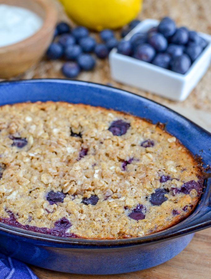 Blueberry and Lemon Baked Oats | Slimming World