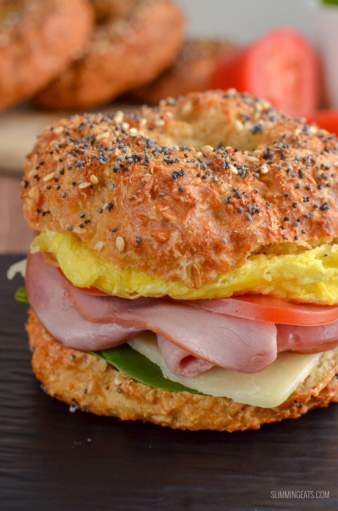 Now you can enjoy a proper tasty Almost Syn Free Bagel for breakfast or lunch. The hardest part will be deciding what to add as your filling. Just 1 Healthy Extra B and 0.5 syns or 4 WW Smart Points. Gluten Free, Vegetarian, Slimming World and Weight Watchers friendly | www.slimmingeats.com