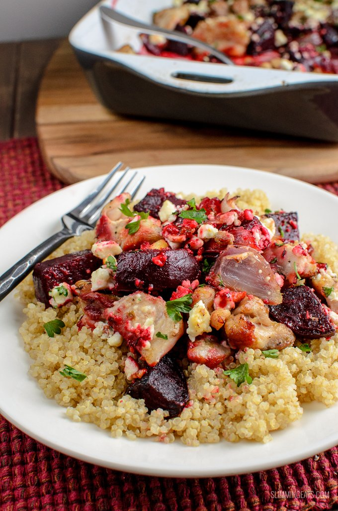 Flavour explosion in this Syn Free Chicken, Feta and Roasted Beetroot Bake - a perfect easy dinner.Gluten Free, Slimming World and Weight Watchers friendly | www.slimmingeats.com
