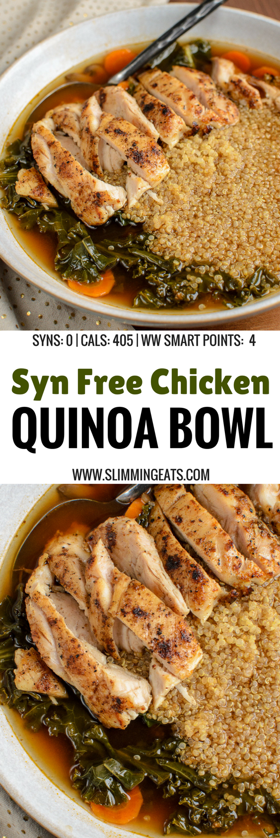 Give me this Syn Free Healthy Chicken Quinoa Bowl for lunch any day - EVERY day. It's heavenly!! Gluten Free, Dairy Free, Slimming World and Weight Watchers friendly