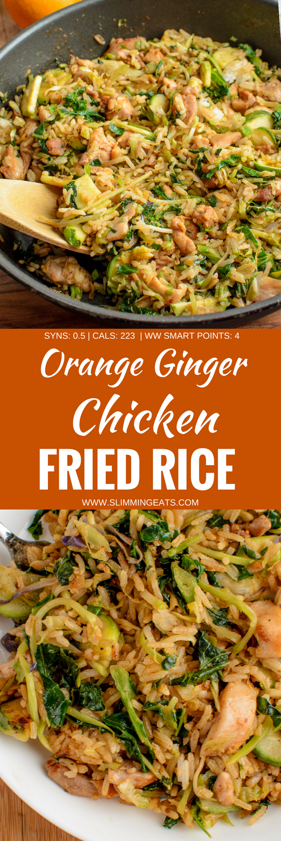 A fragrant delicious twist in this delicious Orange Ginger Chicken Fried Rice - a complete meal in a bowl. Gluten Free, Dairy Free, Slimming World and Weight Watchers friendly. SYNS: 0.5 | CALORIES: 223 | WEIGHT WATCHERS SMART POINTS: 4 | www.slimmingeats.com