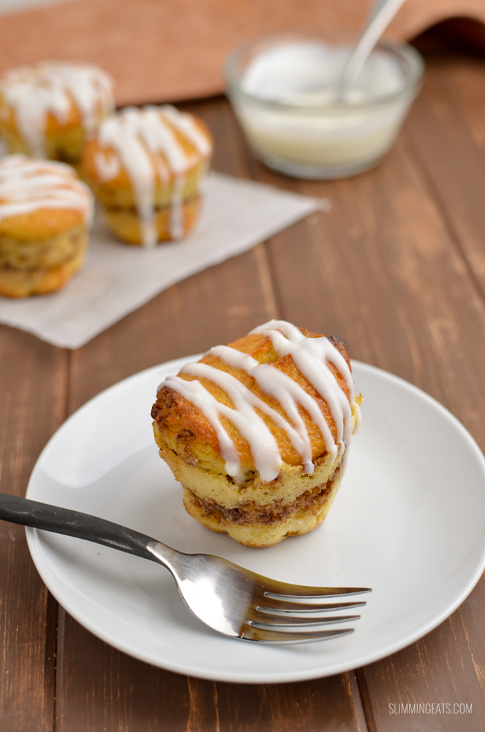 Just wait till you try these Cinnamon Roll Baked Oat Muffins - they are totally delish!! gluten free, vegetarian, Slimming World and Weight Watchers friendly