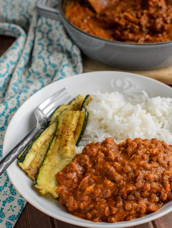spicy sweet potato and lentils with zucchini and rice