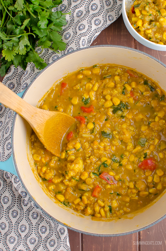 If you are looking for more meat-free recipes or maybe you are vegetarian or vegan, then this Coconut Vegetable Curry. Gluten Free, Dairy Free, Slimming World and Weight Watchers friendly | www.slimmingeats.com