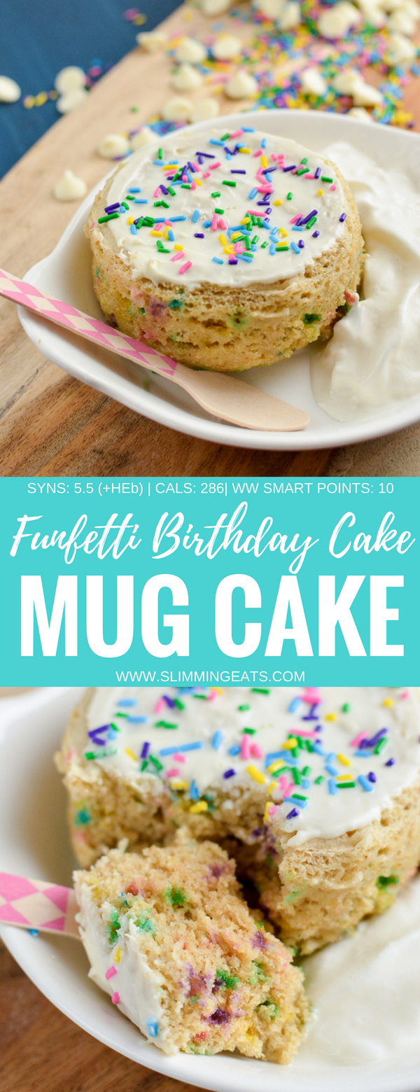Funfetti Birthday Cake Mug Cake - a delicious vanilla flavour cake scattered with rainbow sprinkles and topped with white chocolate all cooked in a mug in the microwave in just a few minutes. Slimming World and Weight Watchers friendly | www.slimmingeats.com