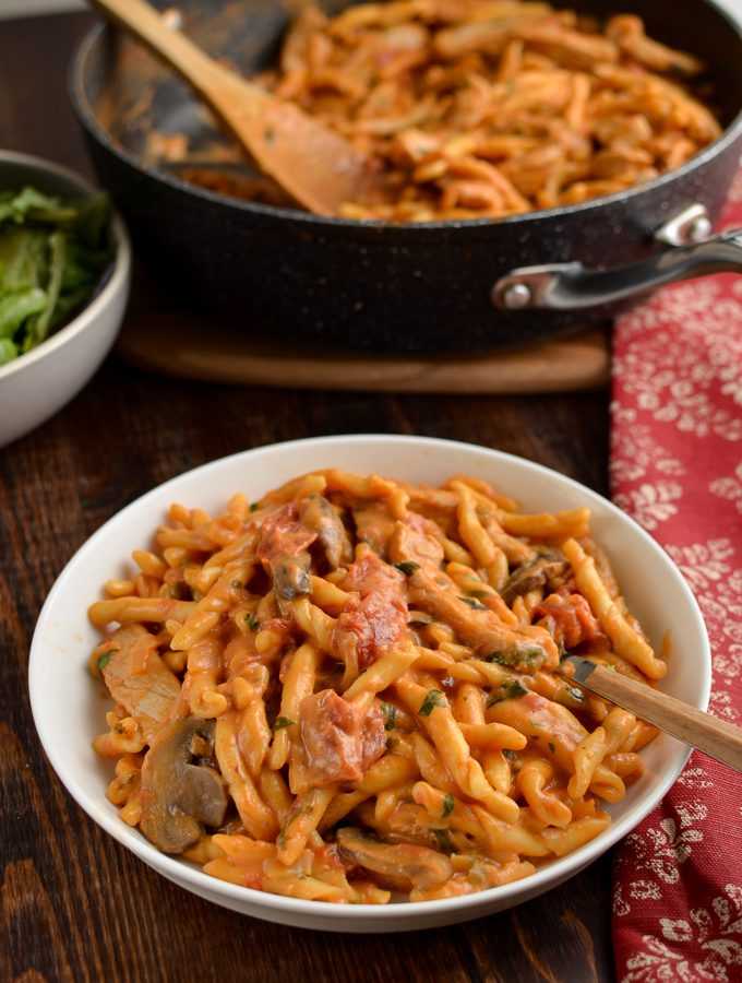 creamy one pot pork pasta in a bowl with fork
