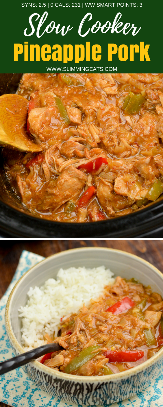 Delicious Slow Cooker Pineapple Pork with the sweetness of crushed pineapple, spicy kick of sambal oelek, plus soy sauce, and red and green pepper. Perfect with rice or noodles. Gluten Free, Slimming World and Weight Watchers friendly | www.slimmingeats.com #slimmingworld #weightwatchers #slowcooker #crockpot