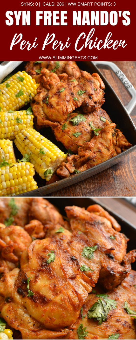 This is the Ultimate Syn Free Nando's Peri Peri Chicken Fakeaway - a truly mouthwatering delicious meal you can create at home. Gluten Free, Dairy Free, Slimming World and Weight Watchers friendly | www.slimmingeats.com #slimmingworld #weightwatchers #chicken #Periperi