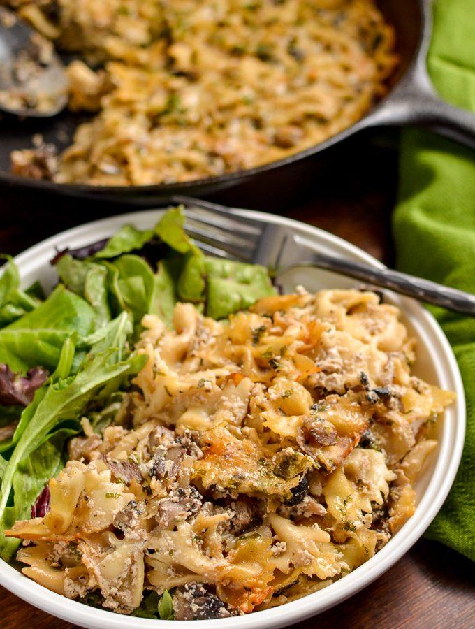 Syn Free Baked Garlic Mushroom and Ricotta Pasta