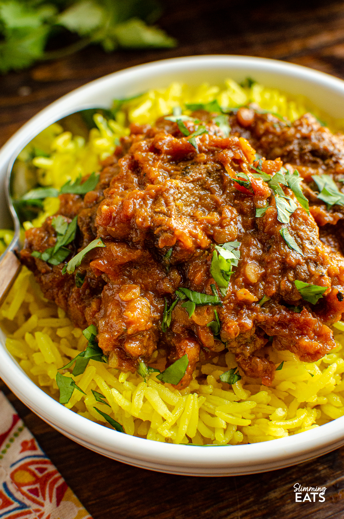 close up of Beef Dhansak in white bowl with pilau rice and scatter coriander