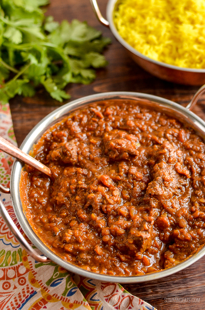 Syn Free Beef Dhansak - a hugely popular Indian curry that uses meat and lentils with fragrant spices for this amazing Slimming World friendly dish. | Gluten Free, Dairy Free, Slimming World, Instant Pot (Pressure Cooker) and Weight Watchers friendly