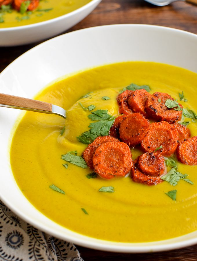Golden Cauliflower Soup with Roasted Paprika Carrots