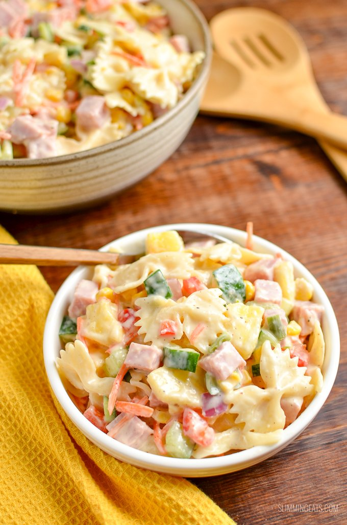 This easy delicious Low Syn Hawaiian Pasta Salad is the perfect dish for barbecues, picnics and lunches | Slimming World and Weight Watchers friendly
