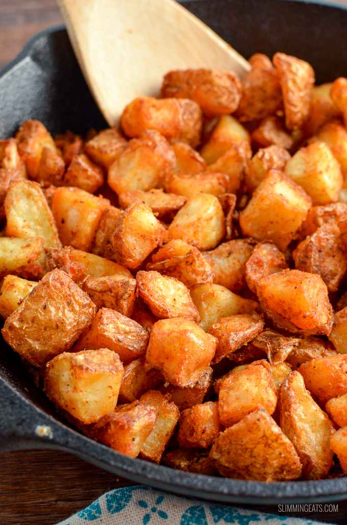 Syn Free Seasoned Crispy Home Fries - the ultimate breakfast side made healthier by cooking in the oven or Actifry. | gluten free, dairy free, vegan, Slimming World and Weight Watchers friendly