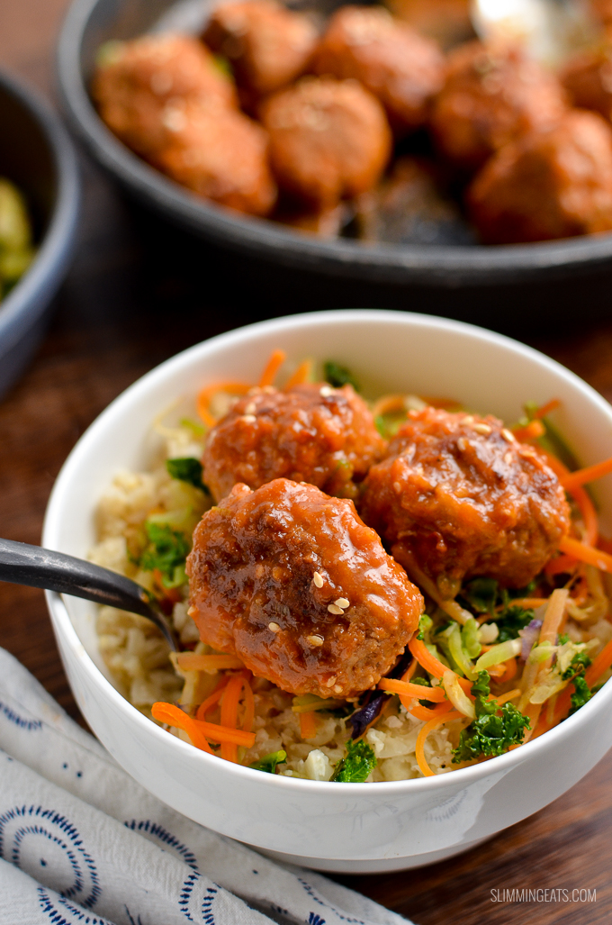 Delicious Low Syn Pork Meatballs with Spicy Pineapple Sauce - easy quick and a perfect meal for the whole family.| gluten free, dairy free, paleo, Whole30, Slimming World and Weight Watchers friendly