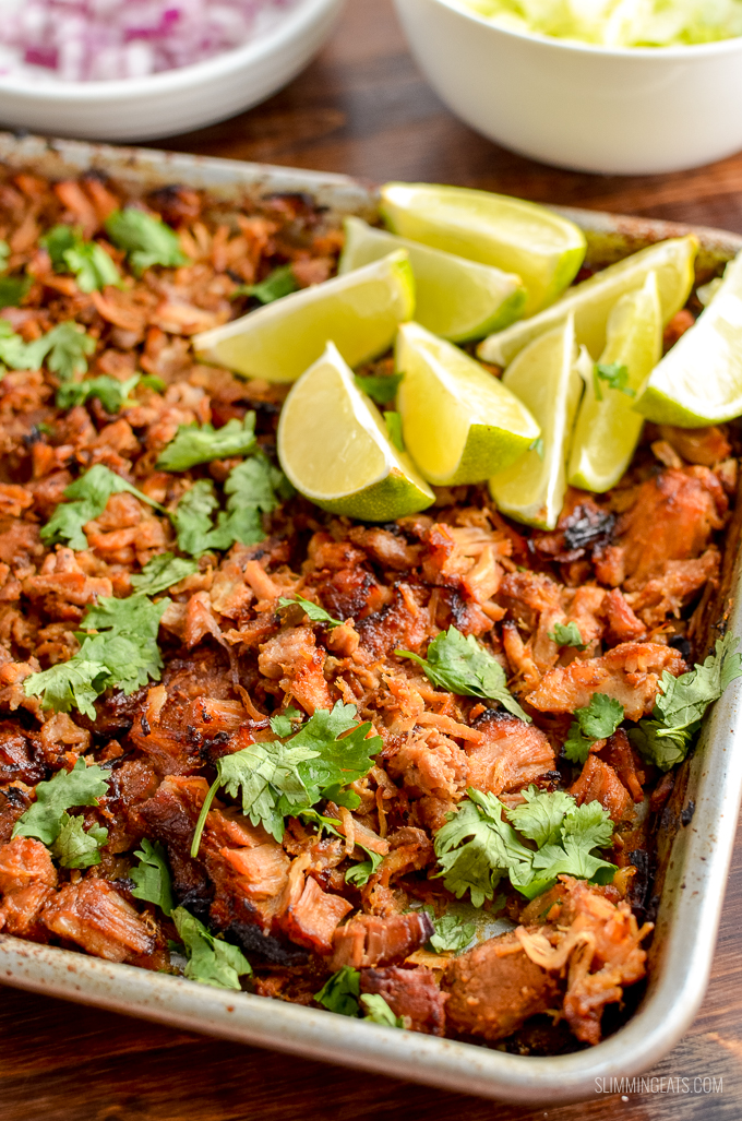 Delicious charred on the edges Low Syn Pineapple Mexican Pork Carnitas - an easy delicious Instant Pot or Slow Cooker Recipe | gluten free, dairy free, whole30, Slimming World and Weight Watchers friendly