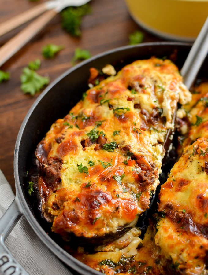 Syn Free Stuffed Eggplant with Beef and Ricotta