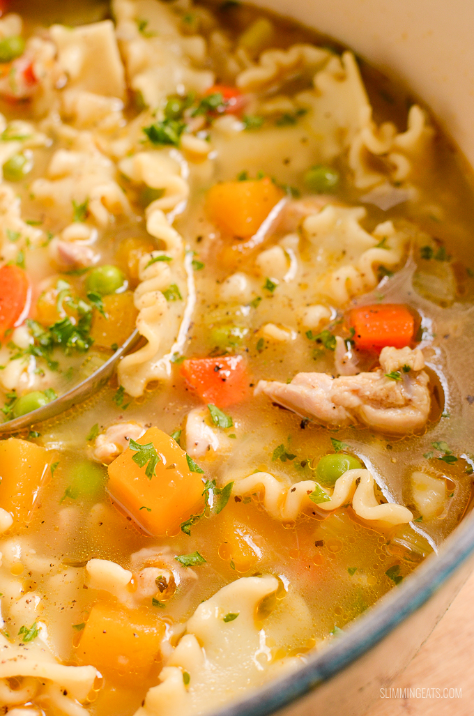 close up of Chicken Vegetable Pasta Soup in Dutch Oven Pot