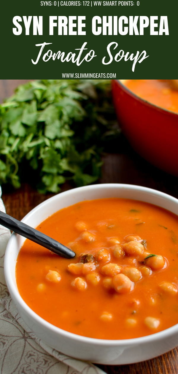 chickpea and tomato soup in white bowl pin image