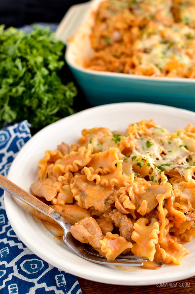 Low Syn Creamy Chicken Mushroom Tomato Pasta Bake - rustle up this amazing tasty pasta bake for dinner this week and impress the whole family. | Slimming Eats and Weight Watchers friendly