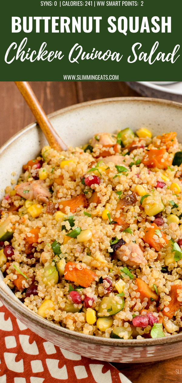 roasted butternut squash chicken quinoa salad pin image