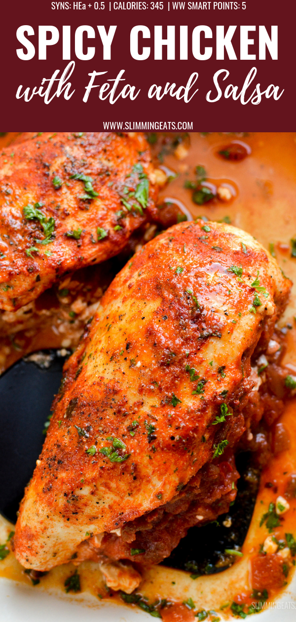 spicy chicken stuffed with feta cheese and salsa pin image